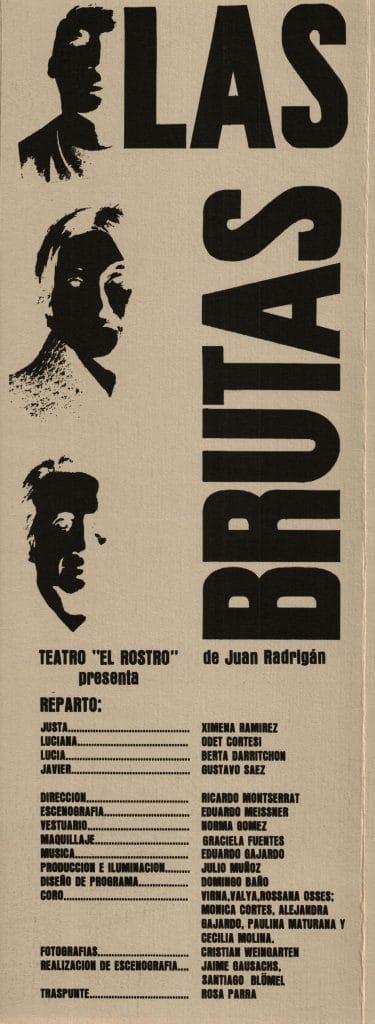 1982 - Las Brutas - Portada y reparto - Gentileza de Compañía de Teatro El Rostro