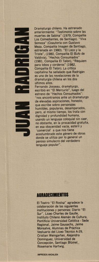 1982 - Las Brutas - Presentación - Gentileza de Compañía de Teatro El Rostro