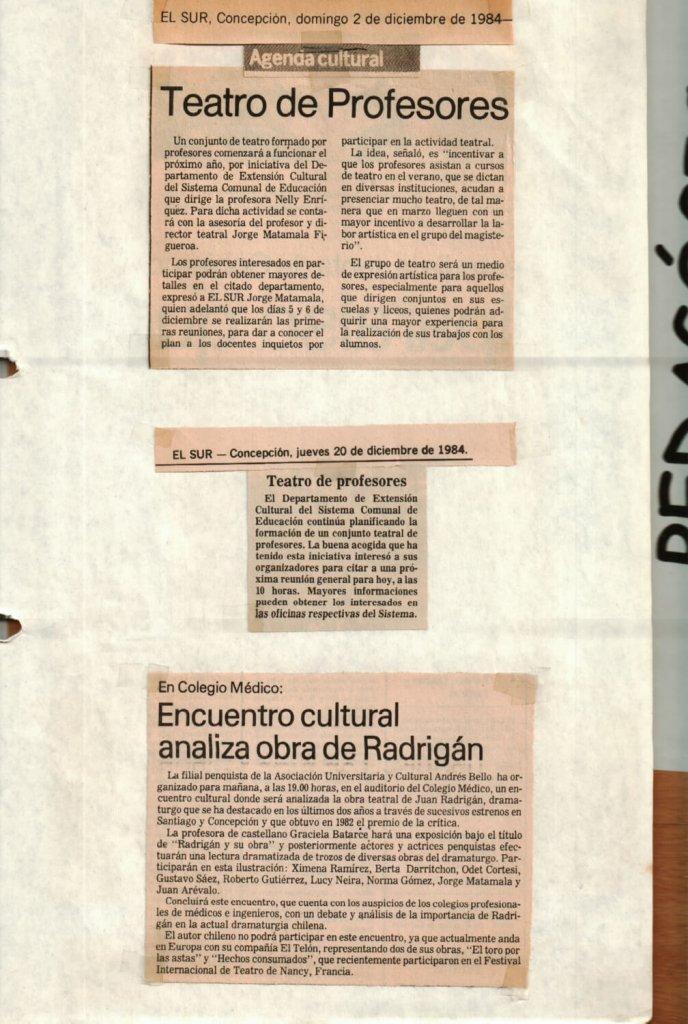 1984 - Teatro de profesores - El Sur 2-20 de diciembre - Gentileza del Colegio de Profesores