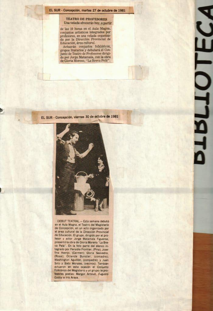 1984 - La breva pelá - El Sur 27-30 octubre - Gentileza del Colegio de profesores