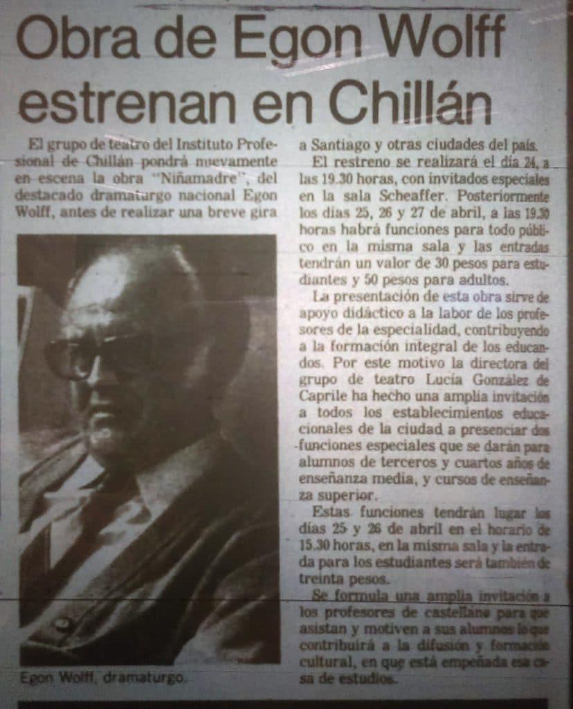 1984 - La niñamadre - El Sur 24 de abril