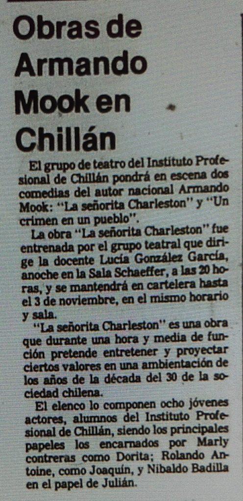 1984 - La señorita Charleston. Un crimen en el pueblo - El Sur 29 de octubre