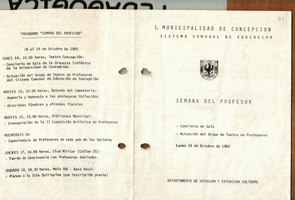 1985 - Semana del Profesor - interior - Gentileza del Colegio de Profesores