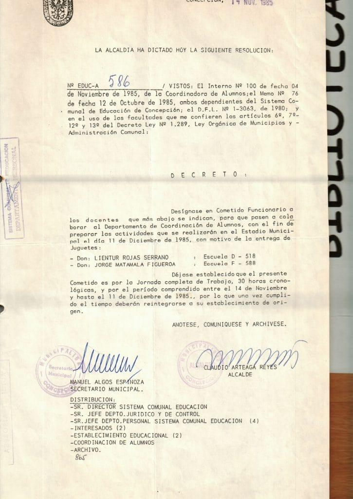 1985 - Decreto de alcaldía Cometido Funcionario - Gentileza del Colegio de Profesores