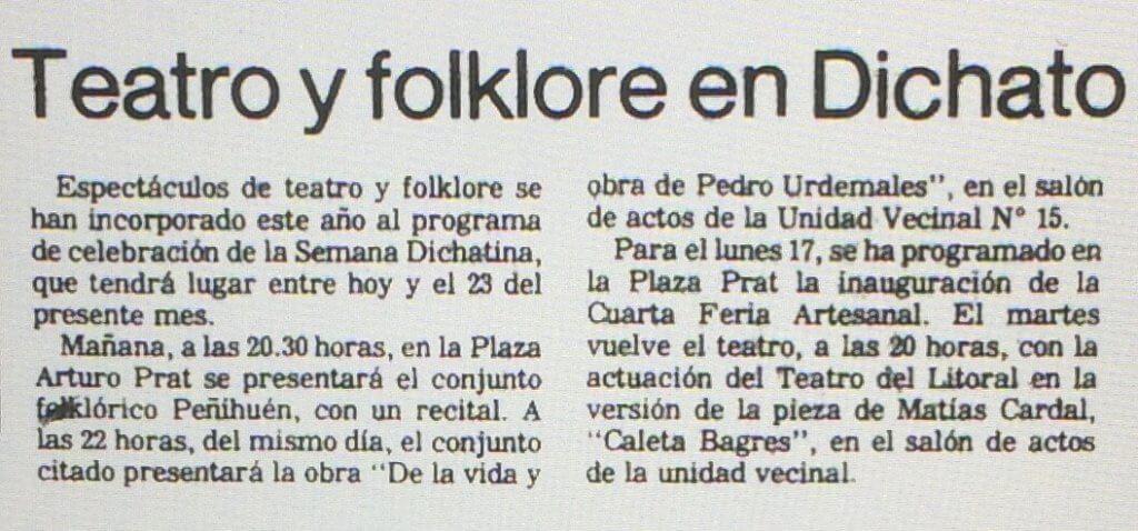 1986 - Caleta Bagres - El Sur 11 febrero