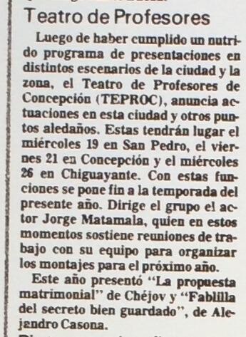 1986 - La propuesta matrimonal - La fablilla del secreto bien guardado - El Sur 16 de noviembre