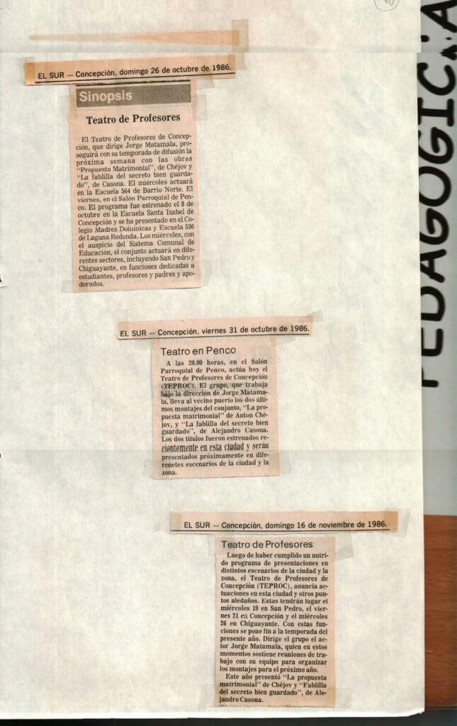 1986 - Propuesta matrimonial - La fablilla del secreto bien guardado - El Sur 26 y 31 de octubre - El Sur 16 de noviembre - Gentileza del Colegio de Profesores
