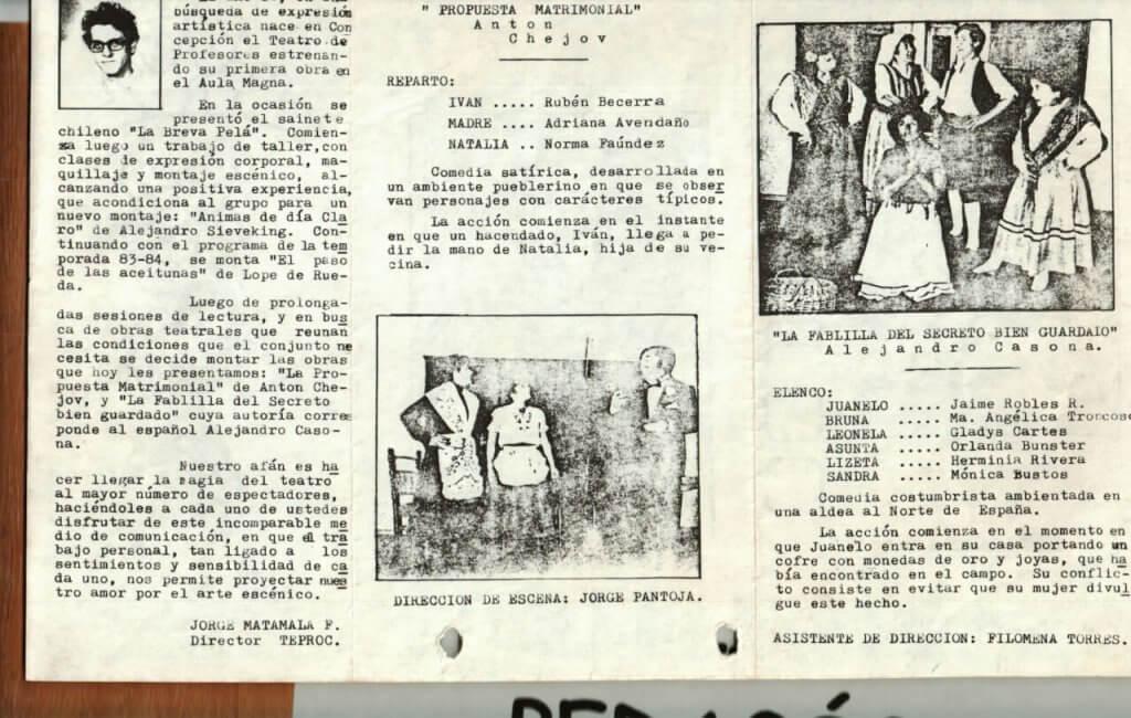 1986 - Propuesta matrimonial - La fablilla del secreto bien guardado - Interior - Gentileza del Colegio de Profesores