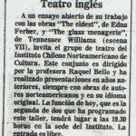 1986 - The eldest - The glass menagerie - El Sur 01 de julio