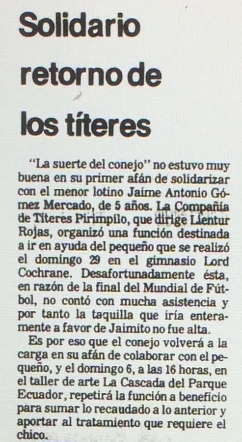 1986 - La suerte del conejo - El Sur 04 de julio