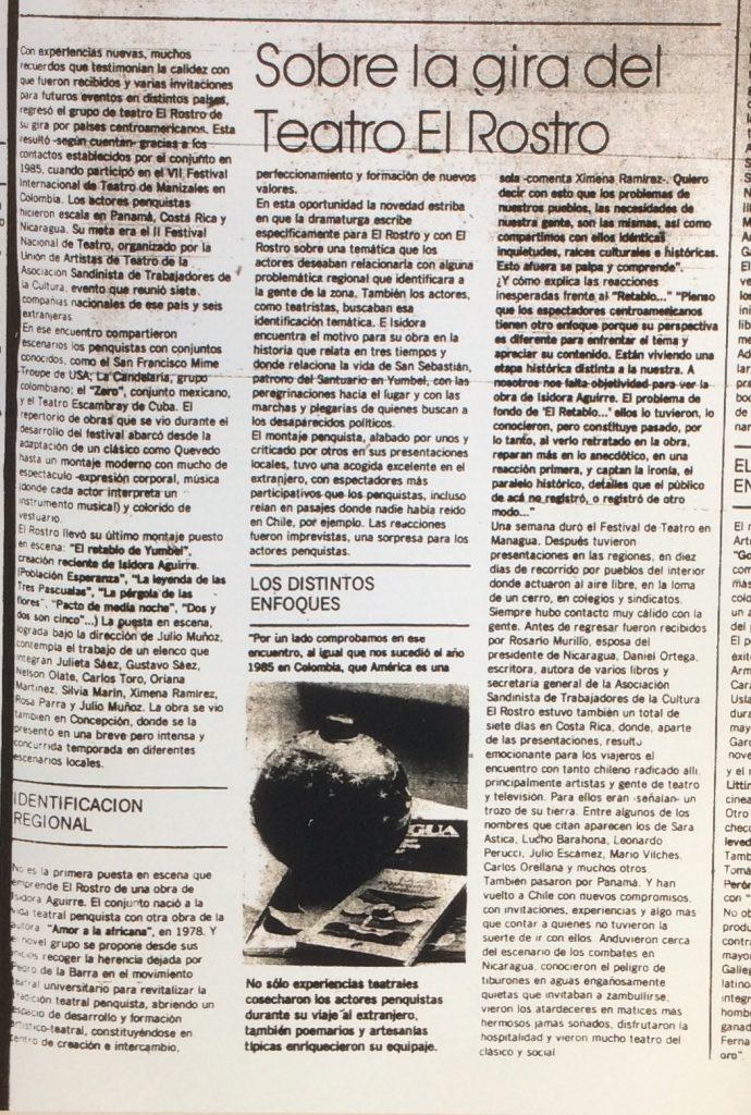 1986 - Retablo de Yumbel - El Sur 04 de enero 1987