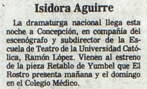 1986 - Retablo de Yumbel - El Sur 29 de agosto