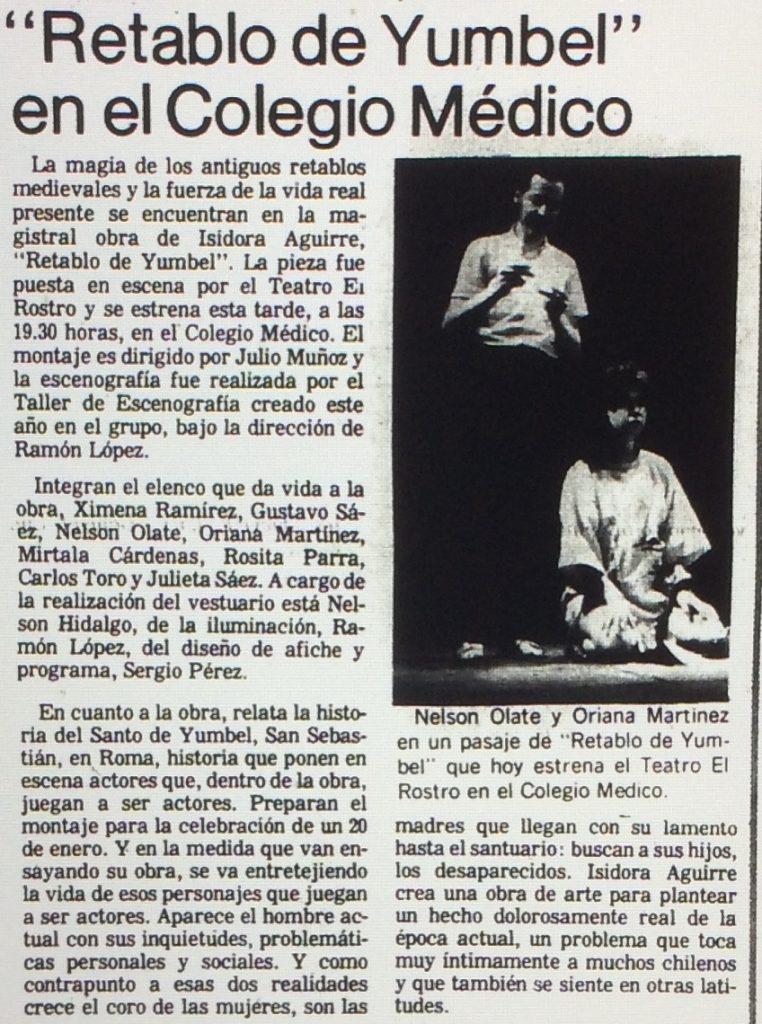 1986 - Retablo de Yumbel - El Sur 30 de agosto