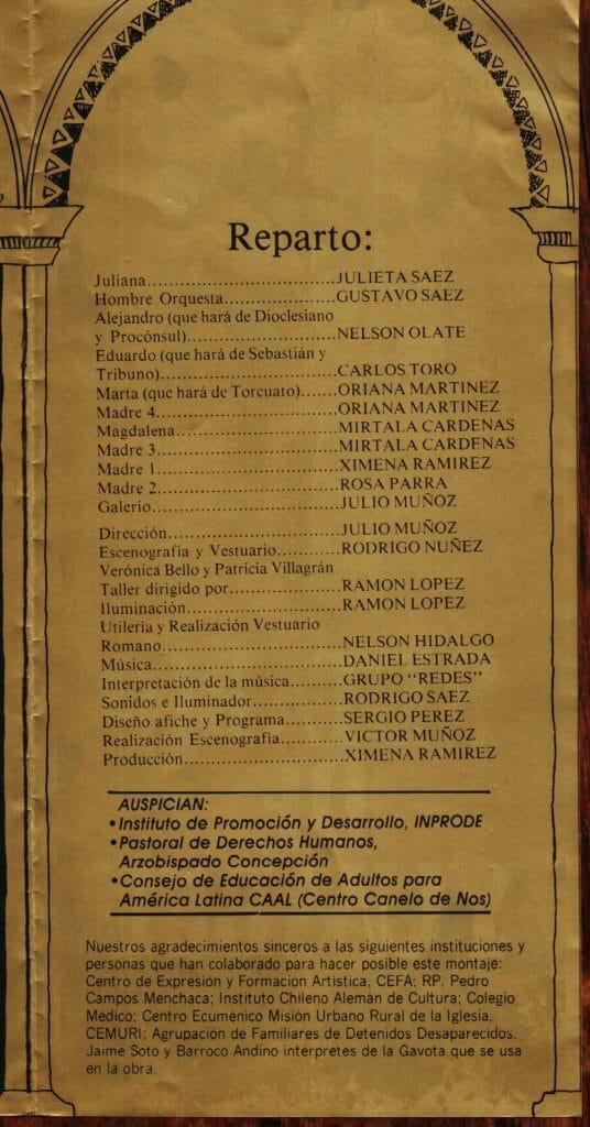 1986 - Retablo de Yumbel - Interior reparto - Gentileza de Compañía de Teatro El Rostro