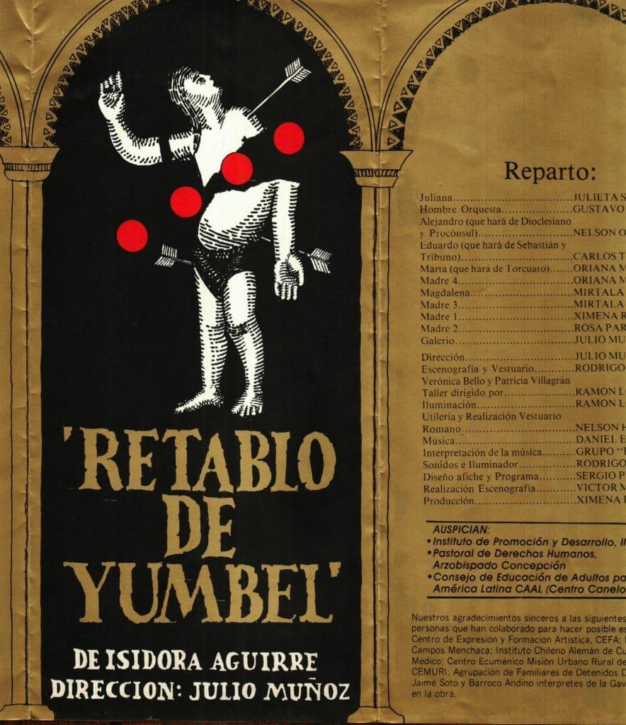 1986 - Retablo de Yumbel - Portada - Gentileza de Compañía de Teatro El Rostro