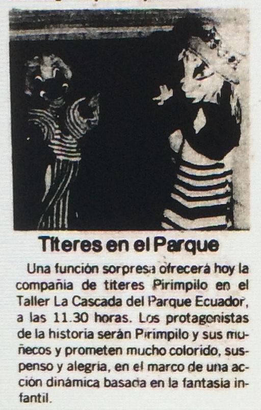 1986 - Títeres en el parque - El Sur 02 de noviembre