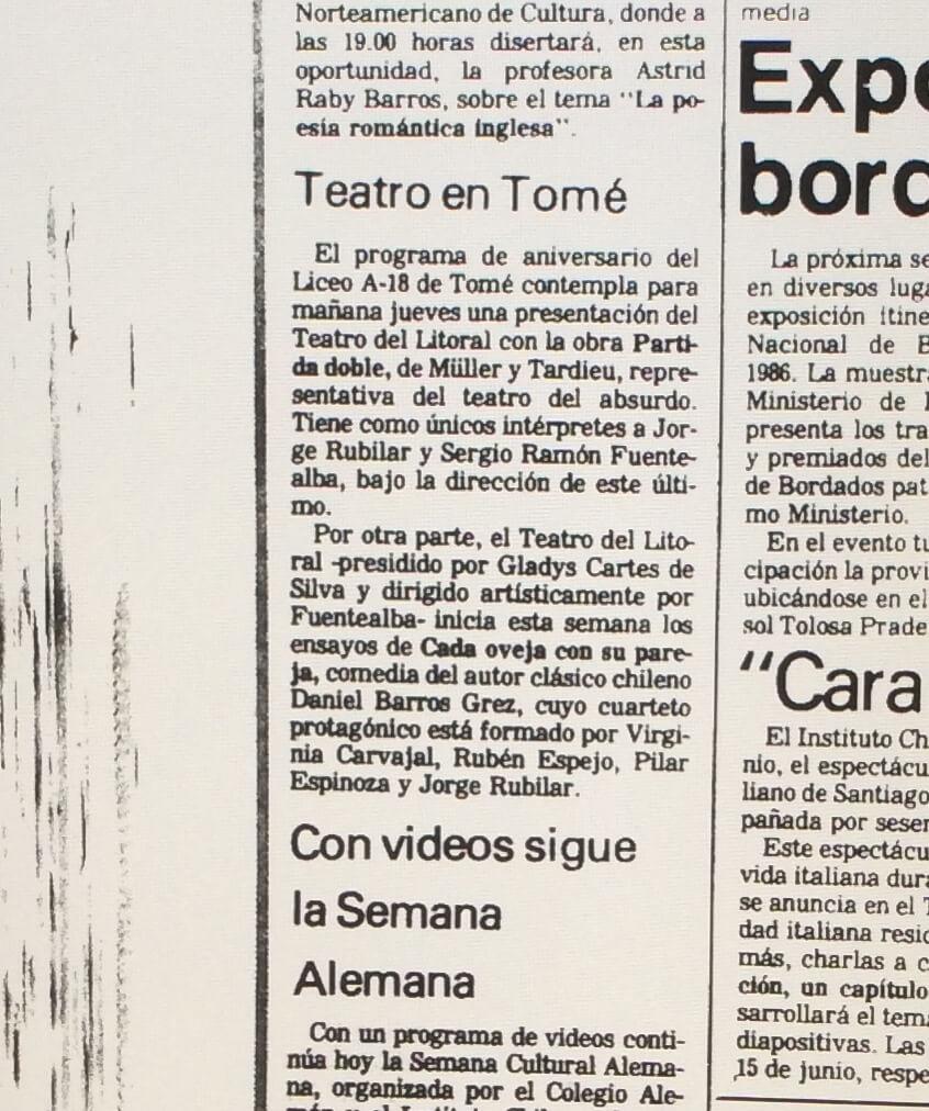 1987 - Partida doble - El Sur 27 de mayo
