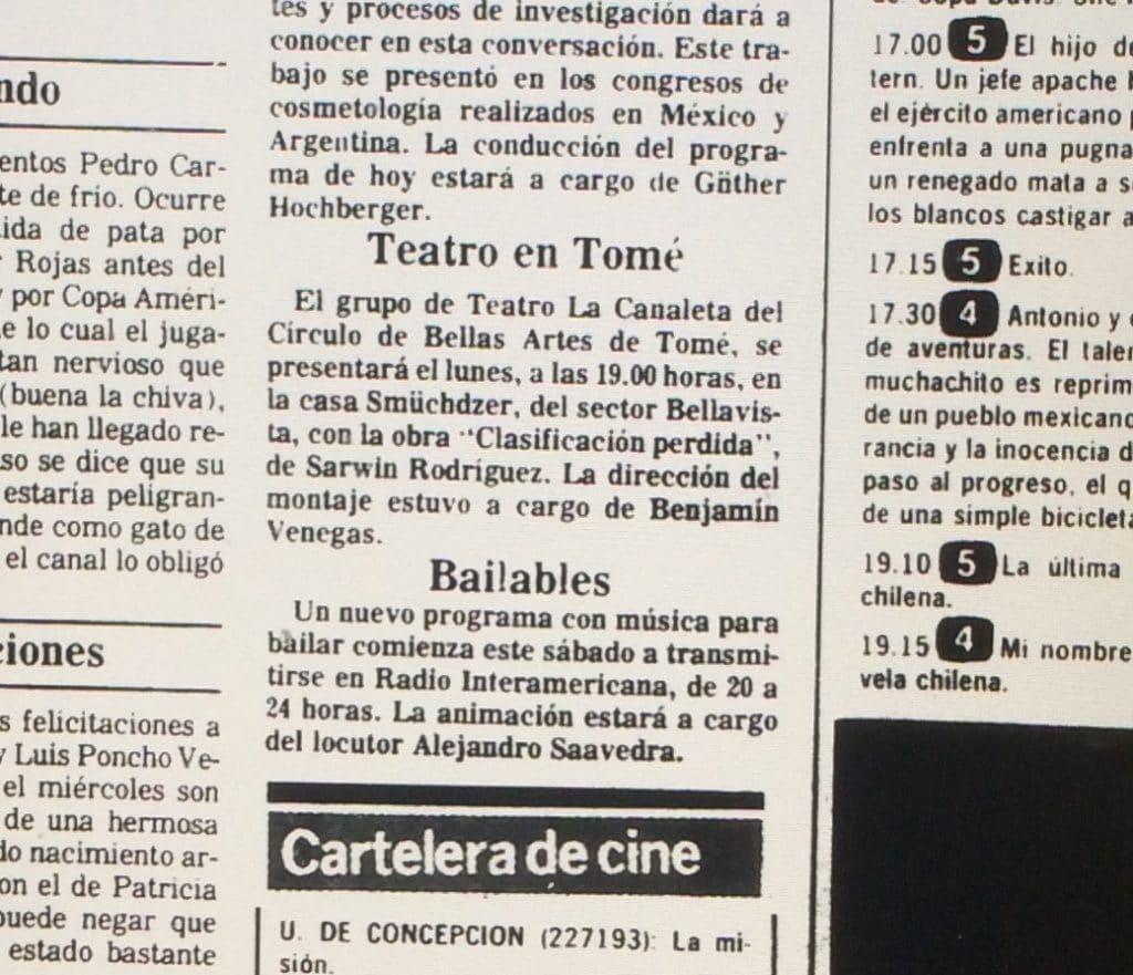 1987 - Clasificación perdida - El Sur 24 de julio