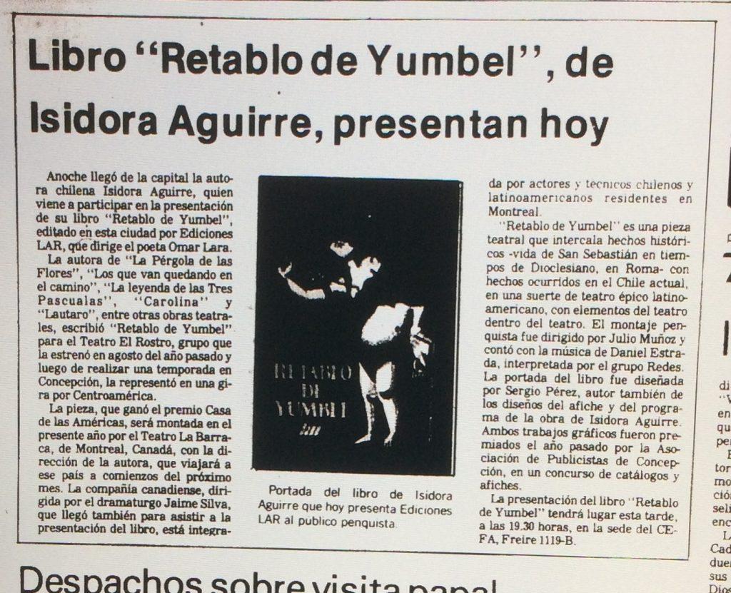 1987 - Retablo de Yumbel - El Sur 28 de marzo