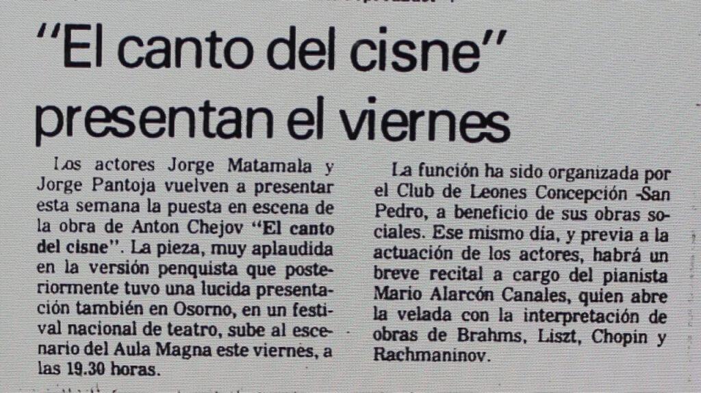 1988 - El canto del cisne - El Sur 23 de marzo