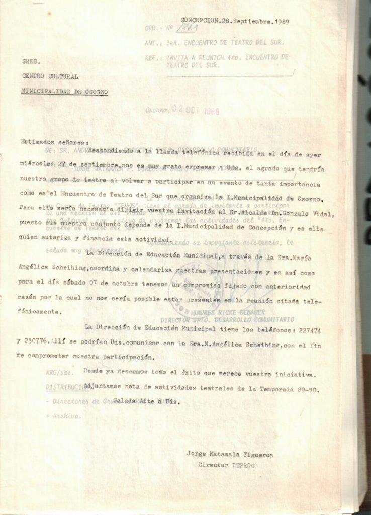 1989 - Carta al Centro Cultural de la Municipalidad de Osorno - Gentileza del Colegio de Profesores