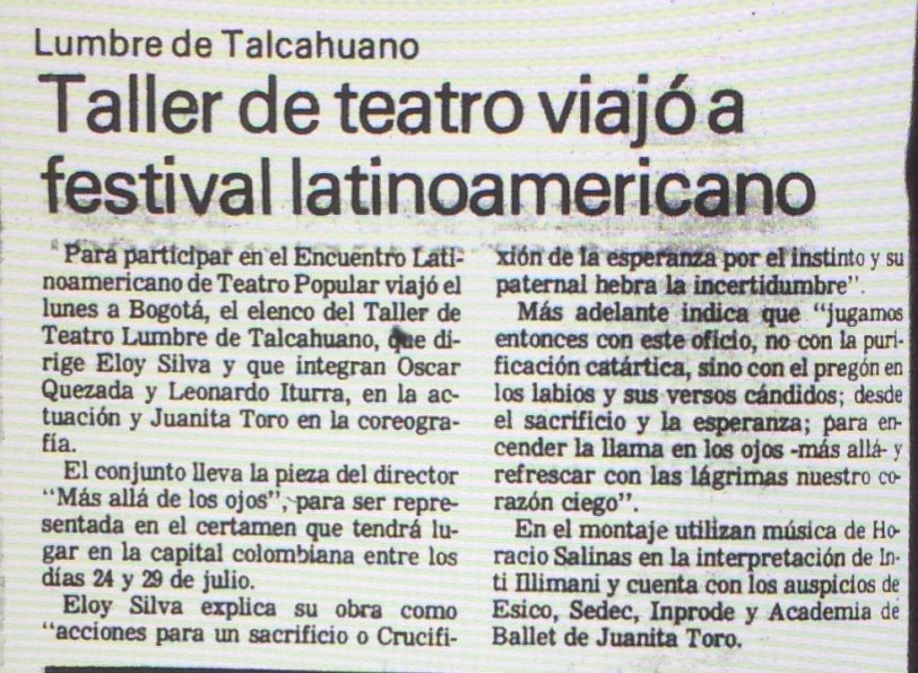 1989 - Lumbre viajó a festival latinoamericano - El Sur 19 de julio