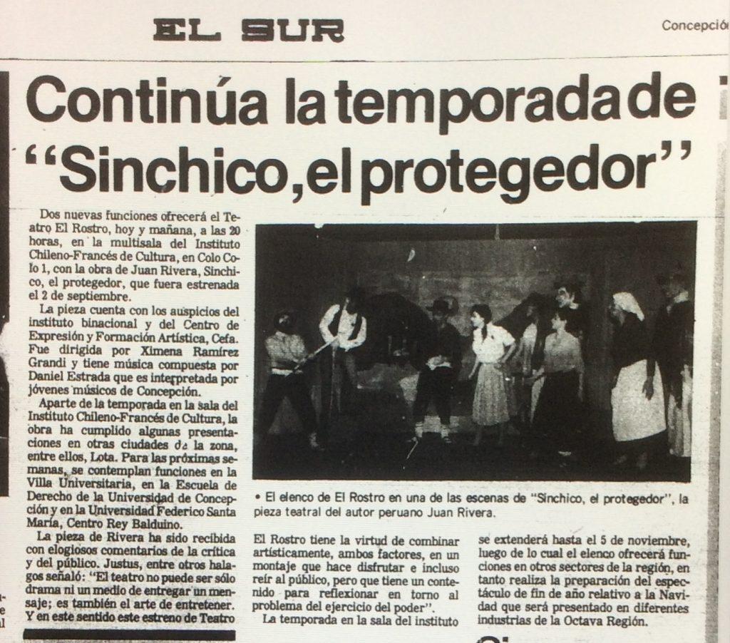 1989 - Sinchico, el protegedor - El Sur 7 de octubre