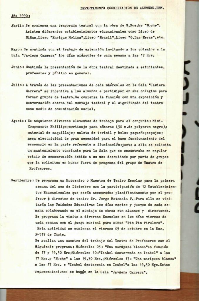 1990 - Informe de actividades II - Gentileza del Colegio de Profesores