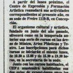 1986 - CEFA reanuda sus actividades - El Sur